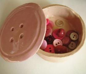 Dusty Pink Ceramic Button Pot. Handmade in Wales, UK