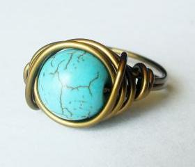 10mm Turquoise Cocktail Ring in Antique Brass Custom Size