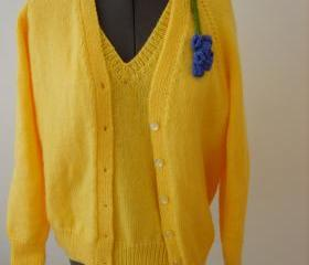 Yellow Retro Hand Knitted Twinset