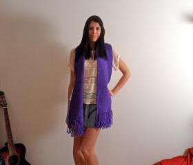 Handmade Knitted Purple Scarf