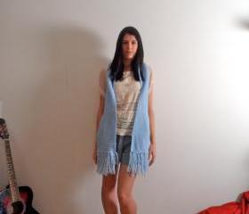 Handmade Knitted Blue Scarf
