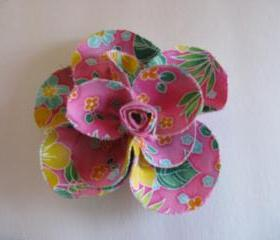 Pink Floral Brooch Tropical Flower