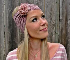 Wide Stretch Lace Headband in Taupe Mocha Brown with Detachable Flower Brooch in Pink Floral Print