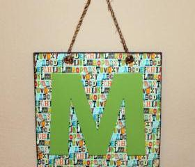 Name Custom Wall Hanging Sign- Personalized Decoupage Letter M Initial