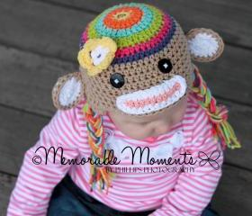 Crochet Rainbow Colorful Sock Monkey Hat Newborn to Toddler sizing Photography prop