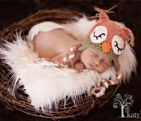 Crochet Sleepy Owl Hat Newborn to Toddler sizing Photography prop