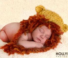 Crochet Newborn Lion Hat Photography Prop