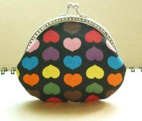 Small Metal Frame Black Pouch - Colorful Heart - Framed Coin Purse - Purse Frame - Gift under 20