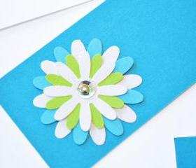 Gift Tags - 6 Tabriz Blue & Bright White Glitter Paper Flowers with Vintage Sequins