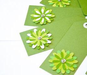Gift Tags - 6 Shimmery Fairway Green & Chartreuse Glitter Paper Flowers with Vintage Sequins