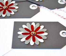 Gift Tags - 6 Star Bright Red & Silver Glitter Paper Flowers with Vintage Sequins