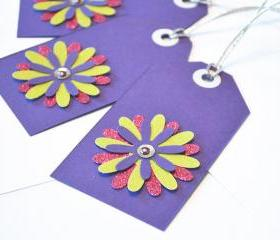 Gift Tags - 6 Plumstastic Purple & Shimmering Lime Green Glitter Paper Flowers with Vintage Sequins