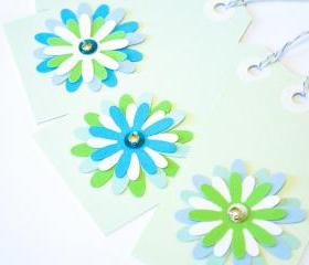 Gift Tags - 6 Pistachio Glitter Paper Flowers with Vintage Sequins