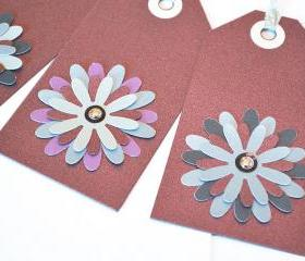 Gift Tags - 6 Sparkling Merlot Glitter Paper Flowers with Vintage Sequins