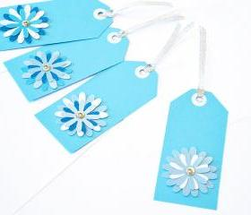 Gift Tags - 6 Powder Blue & Bright White Glitter Paper Flowers with Vintage Sequins