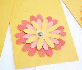 Gift Tags - 6 Shimmering Amber & Glitter Pink Glitter Paper Flowers with Vintage Sequins