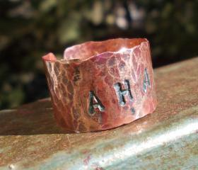 AHAVA Copper handforged patina rustic ring love stamped hebrew word thumb unisex METAL ART primitive