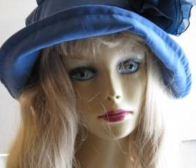 Womens Blue Suede Velvet Hat in SkyBlue