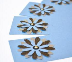 Gift Tags - 6 Sparkling Black & Sapphire Blue Silver Glitter Paper Flowers with Vintage Sequins