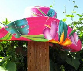 Hot Pink Peach Wide Brim Sunhat Womens