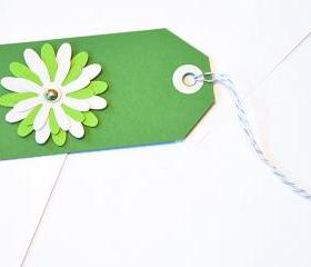 ift Tags - 6 St Paddy's Day Green & Turquoise Glitter Paper Flowers with Vintage Sequins