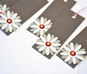 Gift Tags - 6 Mini White Glitter & Silver Glitter Paper Flowers with Vintage Sequins
