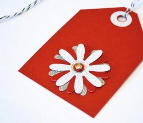 Gift Tags - 6 Valentine Red & Silver Glitter Paper Flowers with Vintage Sequins