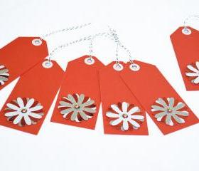 Gift Tags - 6 Brilliant Red & Snow White Glitter Paper Flowers with Vintage Sequins