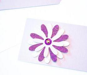 Gift Tags - 6 Lilac & Purple Glitter Paper Flowers with Vintage Sequins