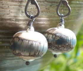 Denim on ivory glass and silver earrings lampwork beads forged dark oxidized sterling silver organic long rustic steel blue earrings