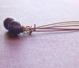 Purple Amethyst Earrings Antique Copper Gemstones