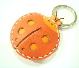 Penny the ladybug leather charm / keychain ( Orange )