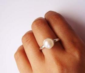 Classic Pearl Ring- Made to order sterling silver and freshwater pearl ring.