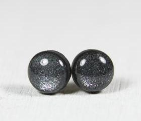 Black Sparkle Stud Earrings - Small Post Earrings - Polymer Clay Jewelry