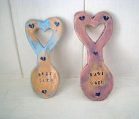Babi Bach (Little baby in Welsh) Ceramic Lovespoon - Handmade in Wales, UK. Ready to ship.