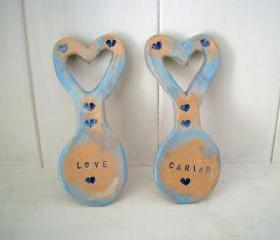 Something blue Cariad or Love Ceramic Lovespoon. Made in Wales, UK. Unusual wedding favor gift.