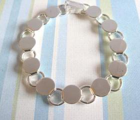 SALE - 3 Disk Loop Glue On Bracelets 7.2 inch - Silver Plated
