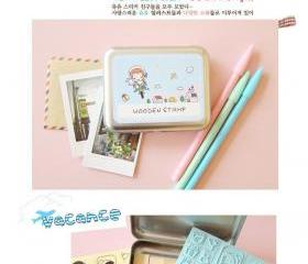 Korean DIY Wooden Stamp Set - Blue