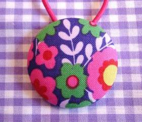 XL Ponytail Holder, Purple Flowers
