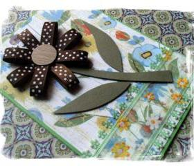 Brown Polka Dots Flower Handmade Cards (set of 3)