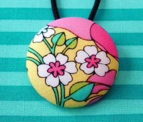 Ponytail Holder, Yellow with Flowers