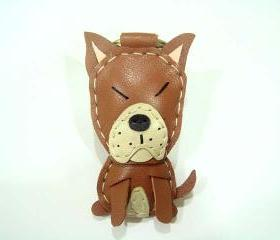 Ryan the Pit Bull Terrier leather keychain ( Brown )