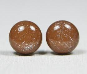 Raw Sienna Sparkle Stud Earrings - Skin Tone Studs - Post Earrings - Handmade Polymer Clay Posts Jewelry