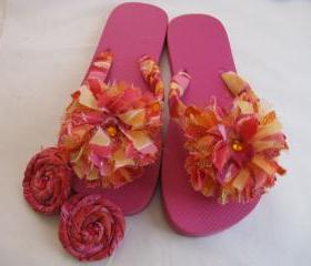 Pink Orange Decorated Flip Flops