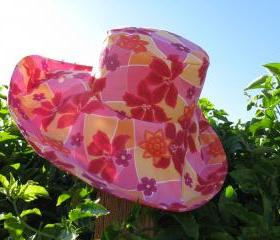 Pink Orange Print Wide Brim SunHat