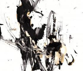 Black and White Modern Art Abstract Original 11x17 Painting - Contemporary Minimalism -- 10126.110409