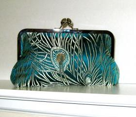 CLUTCH PURSE Peacock Feather Brocade Fabric