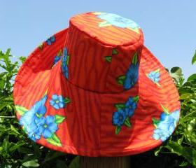 Red Print Sunhat Wide Brim