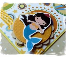 Little Mermaid Happy Birthday Handmade Card