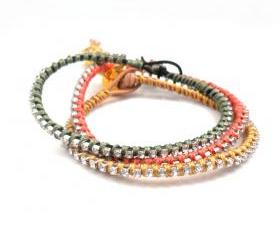Rhinestone Friendship Bracelet Natural leather silk woven stacking gold skull Metallic fashion boho spring butternut for her under 20